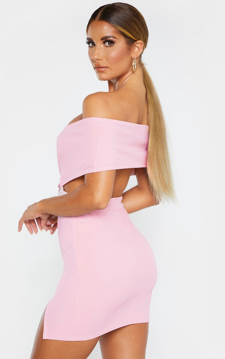 Dusty Lilac Bardot Thigh Split Bodycon Dress 2
