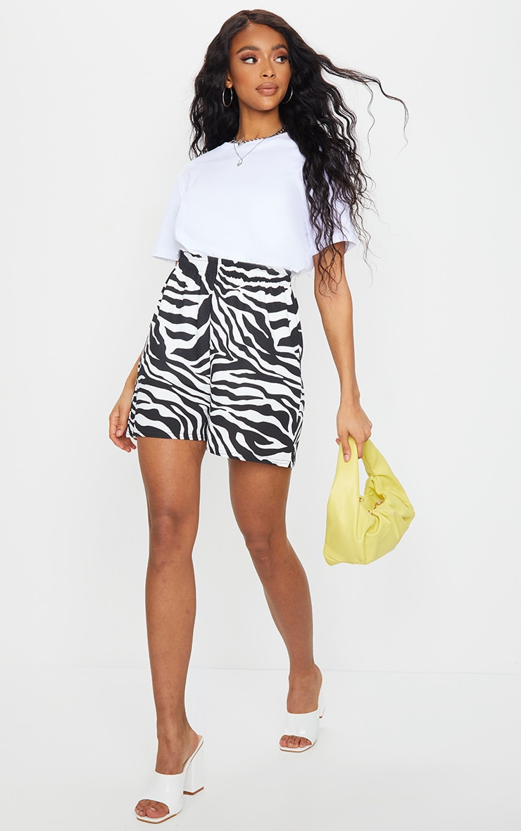 Monochrome Zebra Print Oversized Floaty Shorts 1