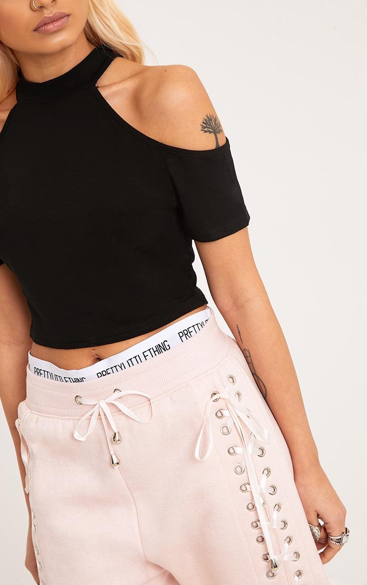 Amabell Black Short Sleeve Cold Shoulder Crop Top 5