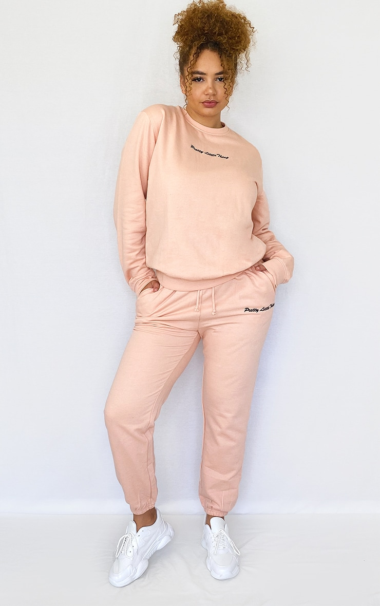 PRETTYLITTLETHING Plus Dusty Pink Embroidered Jogger 1