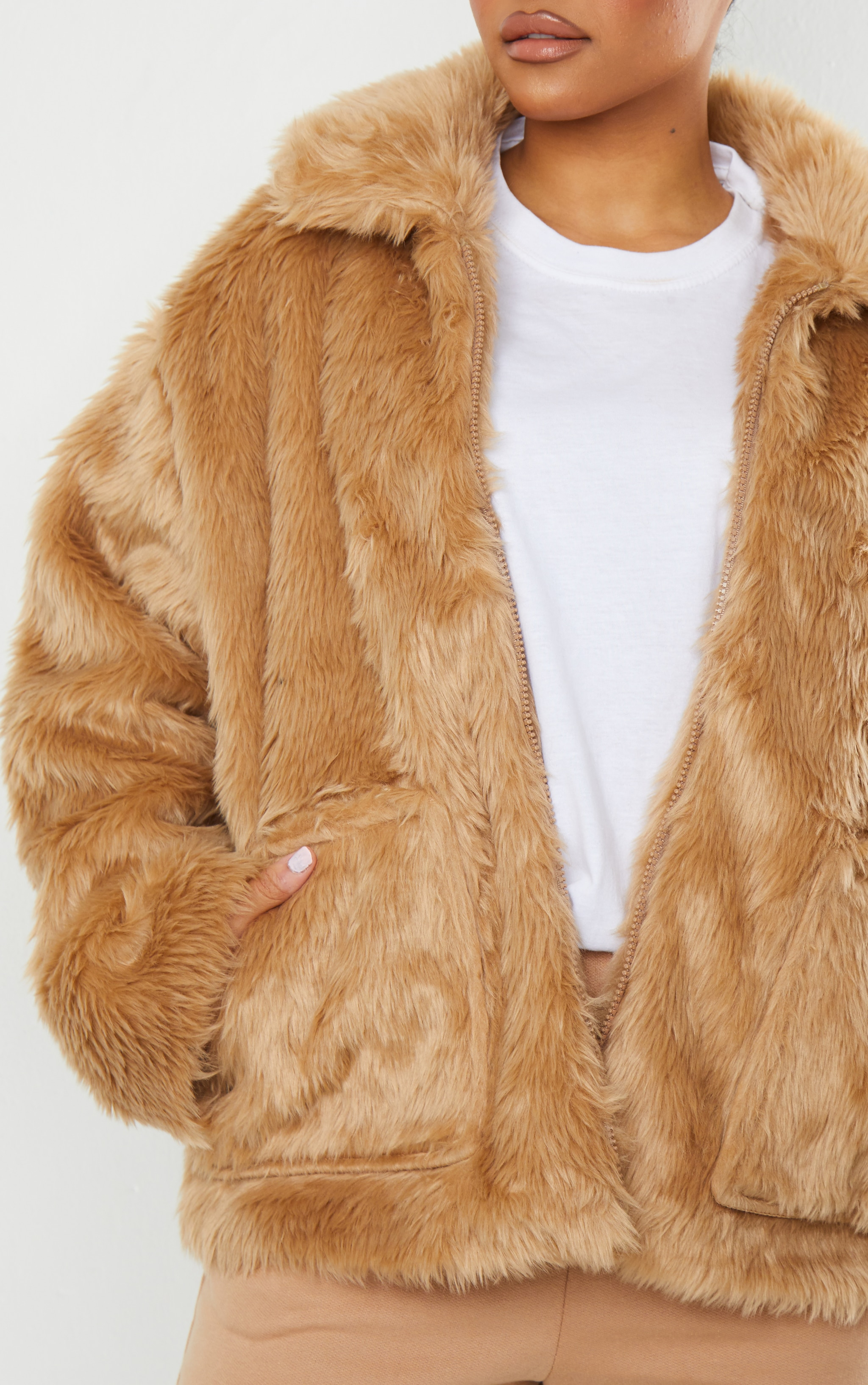 Camel Long Faux Fur Pocket Front Jacket 3