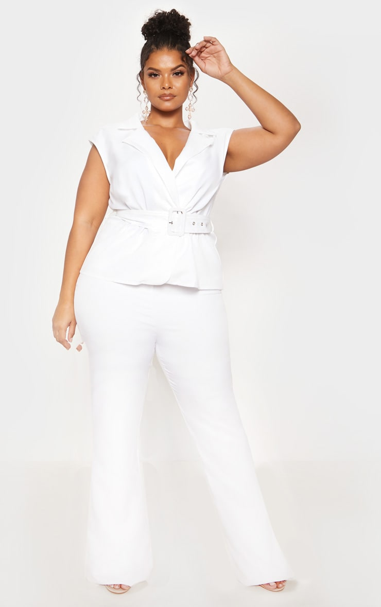 White Peplum Belt Detail Jumpsuit