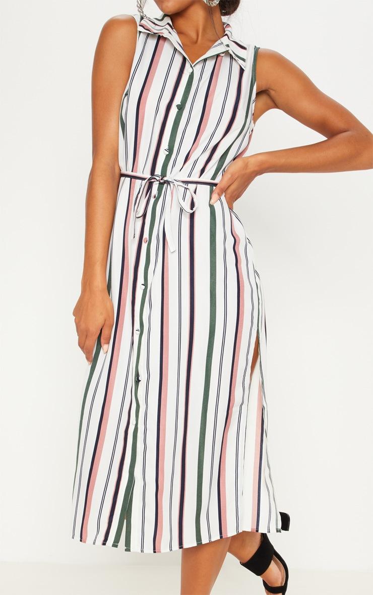 White Stripe Button Down Shirt Midi Dress 5