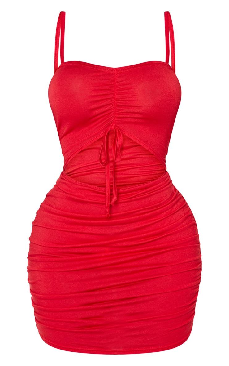 Shape - Robe moulante en jersey rouge froncé à découpe sur l'avant 3