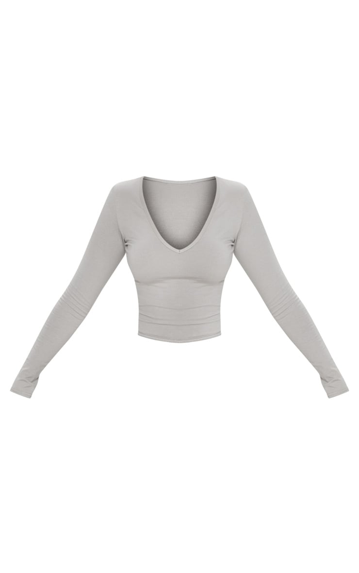 Basic Grey Longline Long Sleeve Top 3