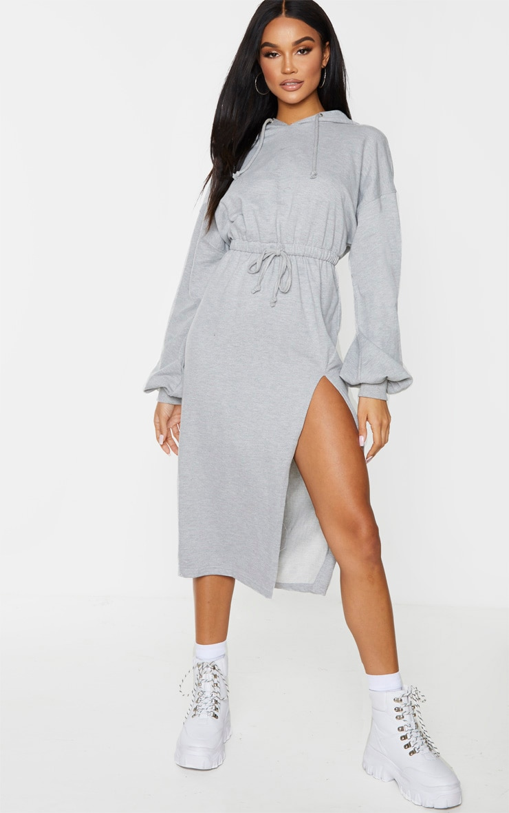 Grey Sweat Hoodie Split Midi Dress 4