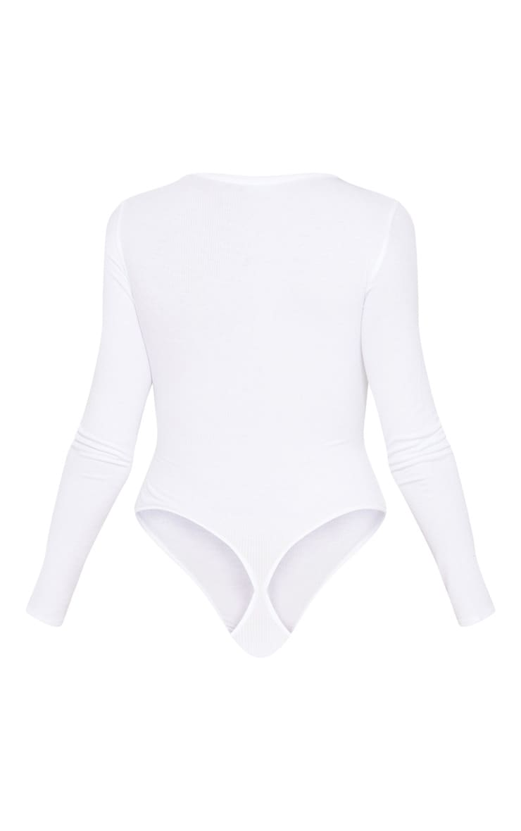 White Long Sleeve Popper Detail Thong Bodysuit 4