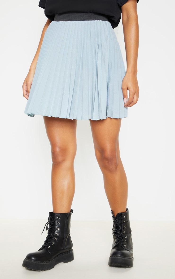Dusty Blue  Pleated Mini Skirt 2