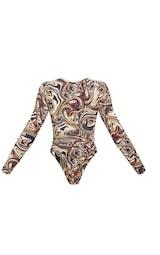 Brown Marble Slinky Lace Up Cross Front Halterneck Long Sleeve Bodysuit 6