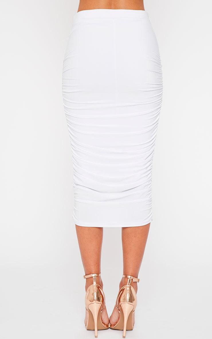 Saylor White Slinky Gathered Midi Skirt 5