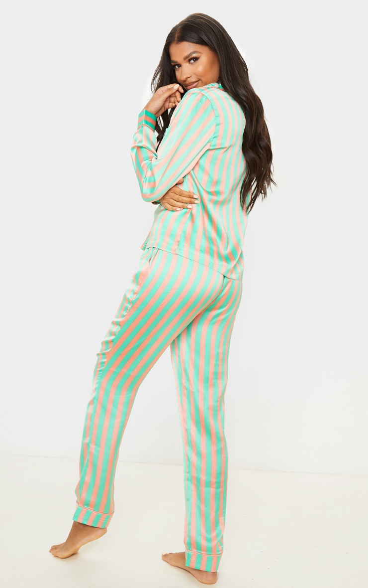 Sage Green Striped Satin Button Up Long PJ Set 2