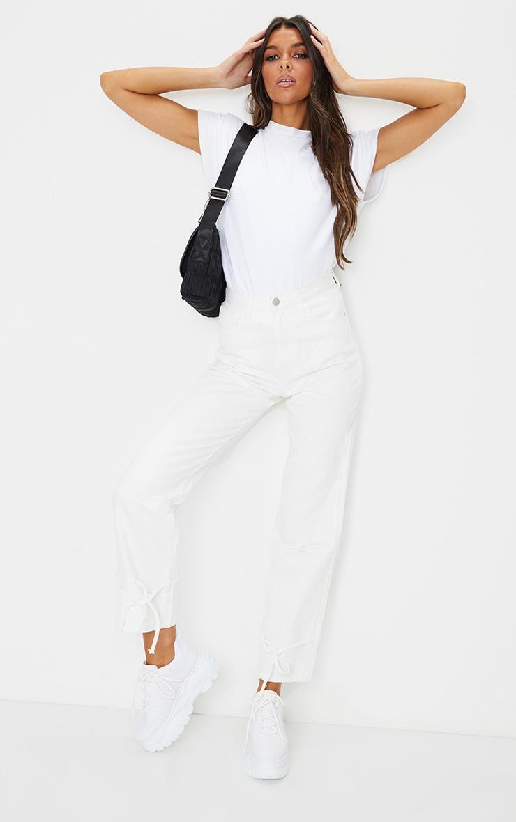 White Tie Hem Mom Jeans 1