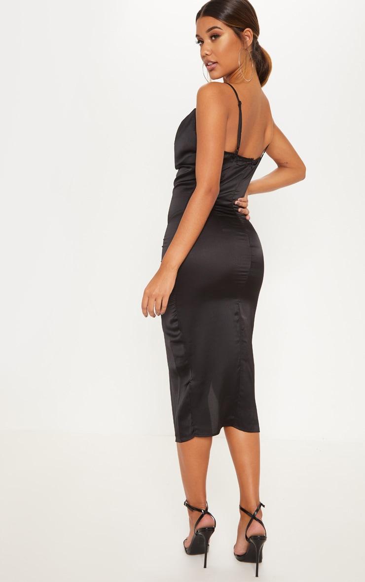 Black Strappy Satin Cowl Midi Dress 2