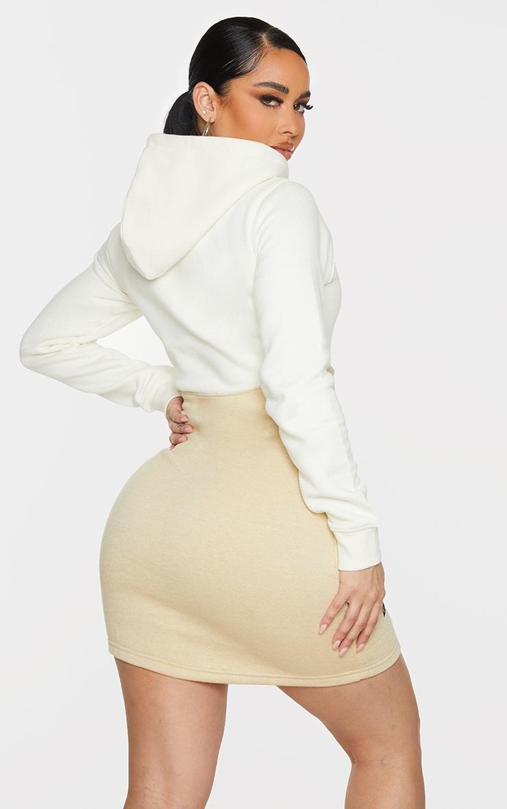 Shape Cream Underbust Detail Hooded Sweatshirt Dress 2