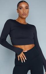 Black Sculpt Long Sleeve Lace Up Back Sport Top 2