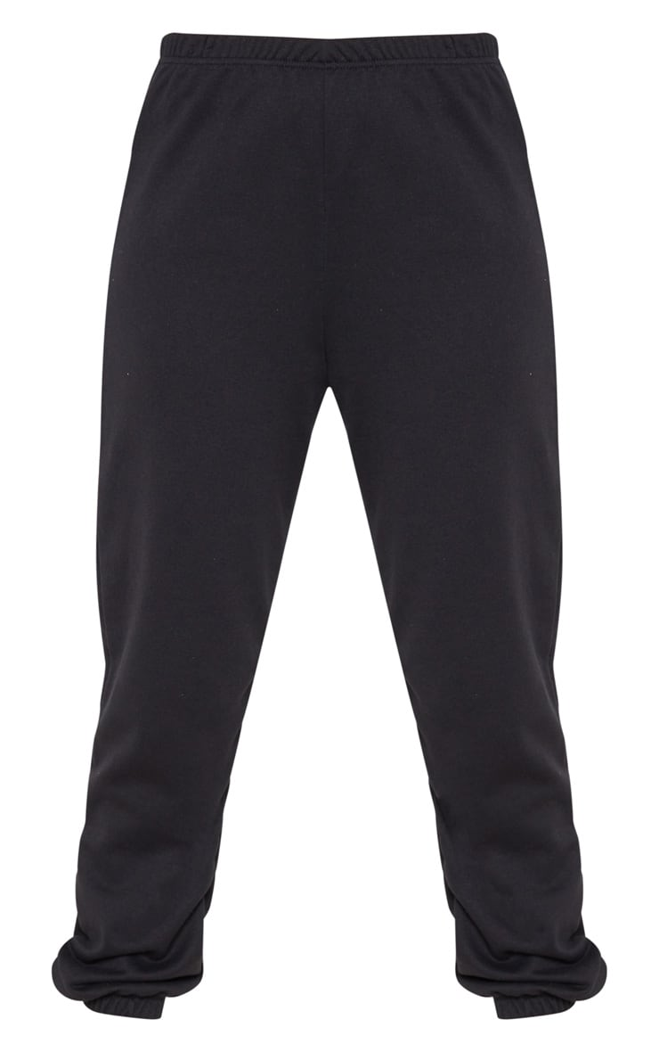 Black Basic Cuffed Hem Track Pants 4
