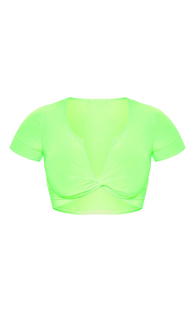 Neon Green Slinky Twist Front Short Sleeve Crop Top 3