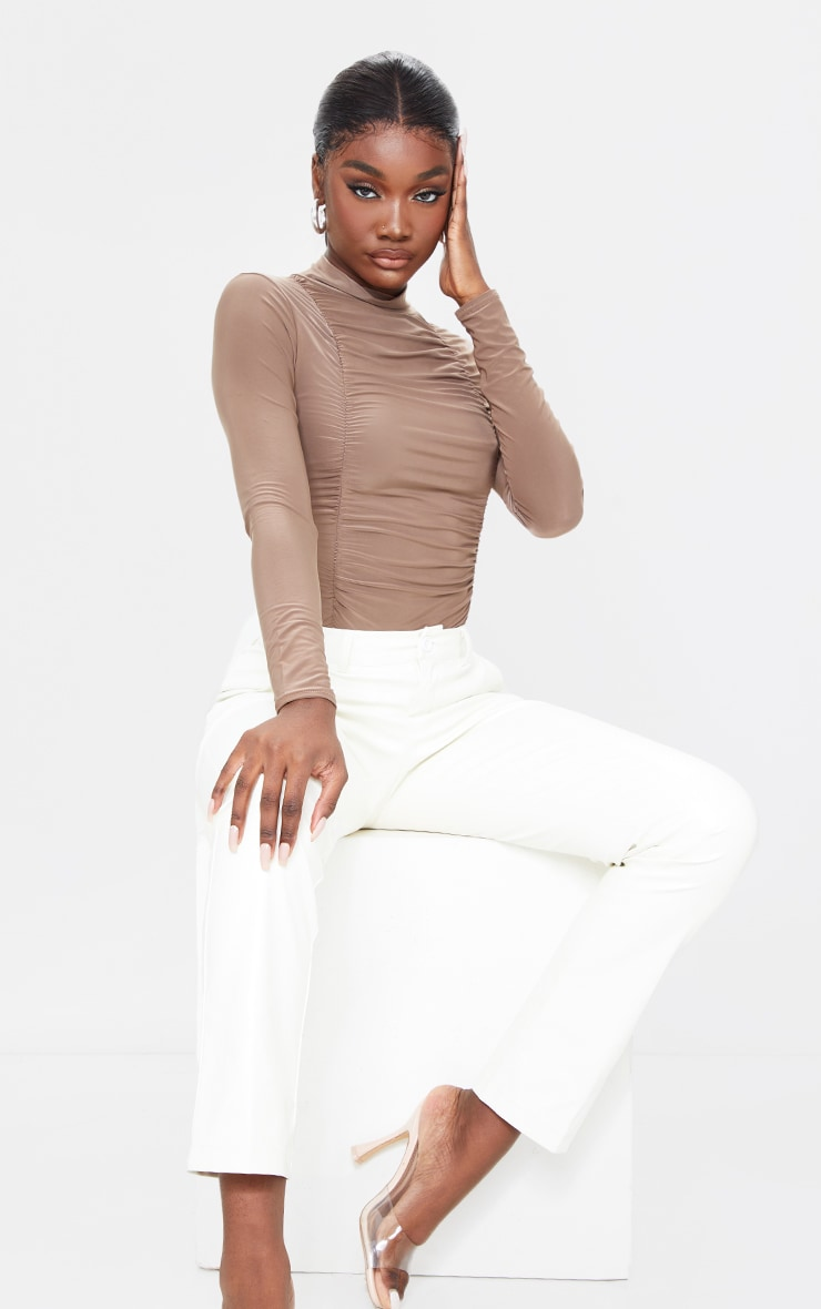 Tall Taupe Jersey Draped High Neck Bodysuit 3