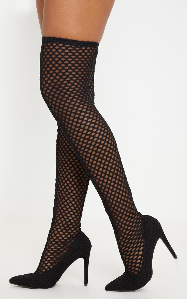 Black Fishnet Thigh High Boot 1