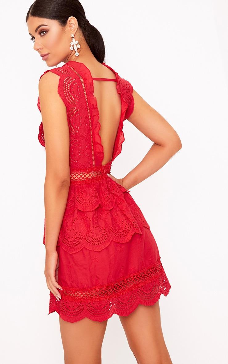 Red Crochet Lace Plunge Swing Dress 4