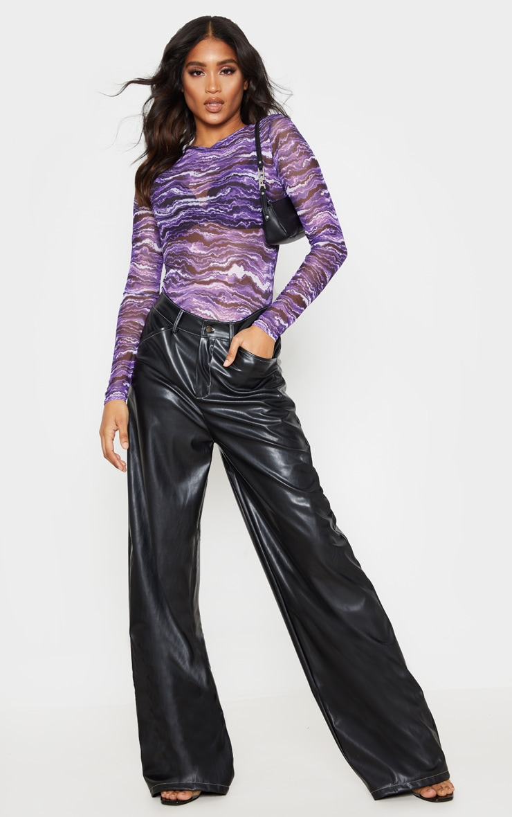 Purple Waves Printed Mesh Crew Neck Long Sleeve Bodysuit 5