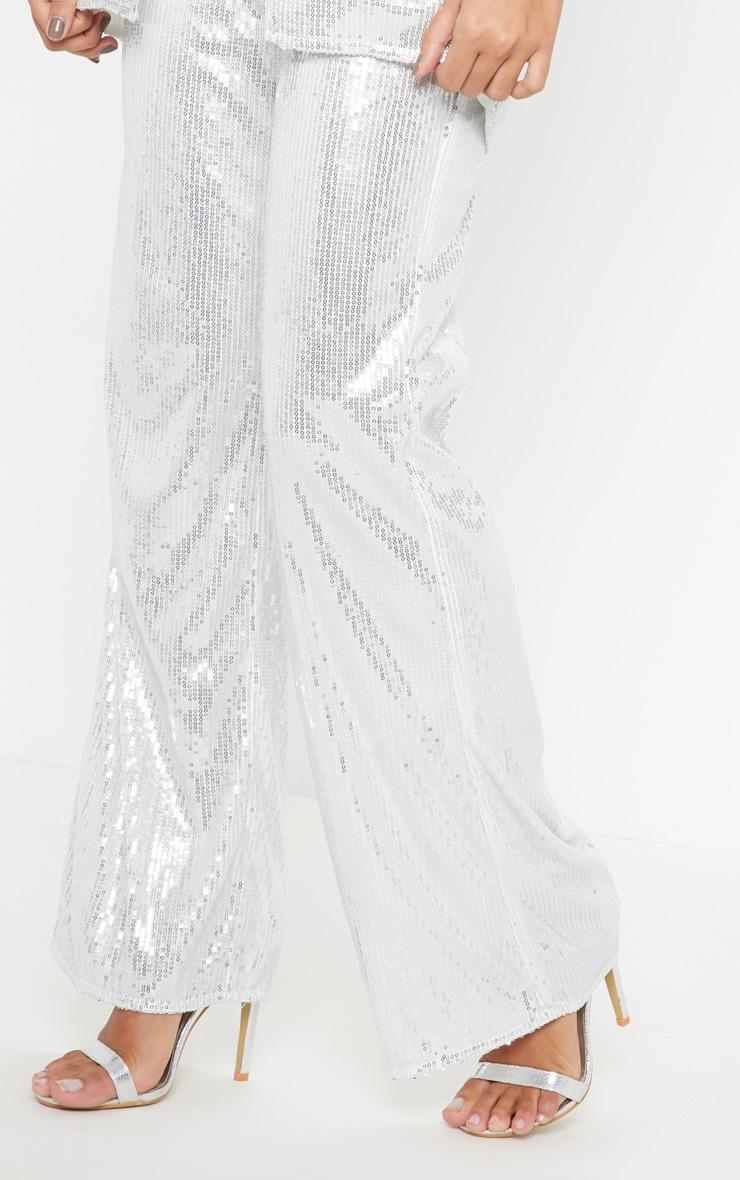 Silver Sequin Wide Leg Pants 5