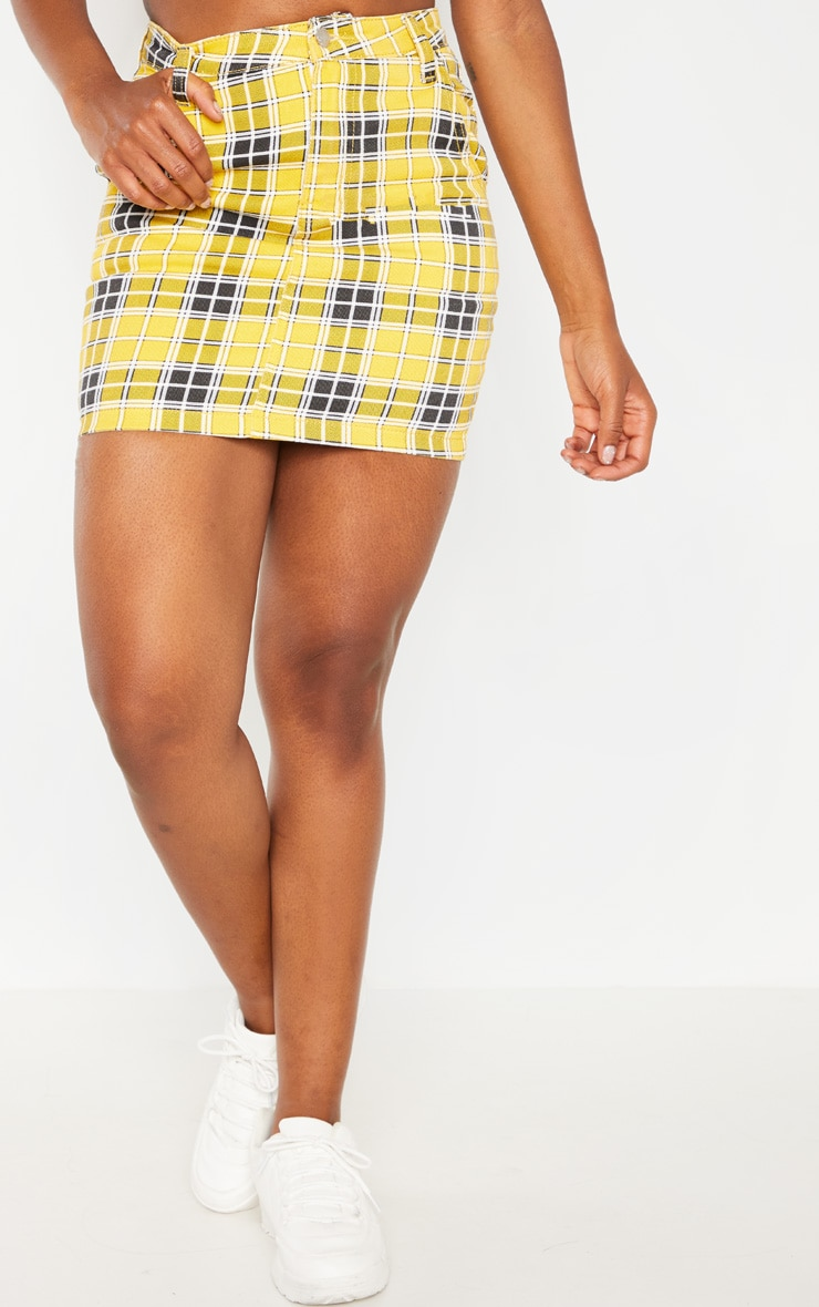 Yellow Checked Denim Skirt  2