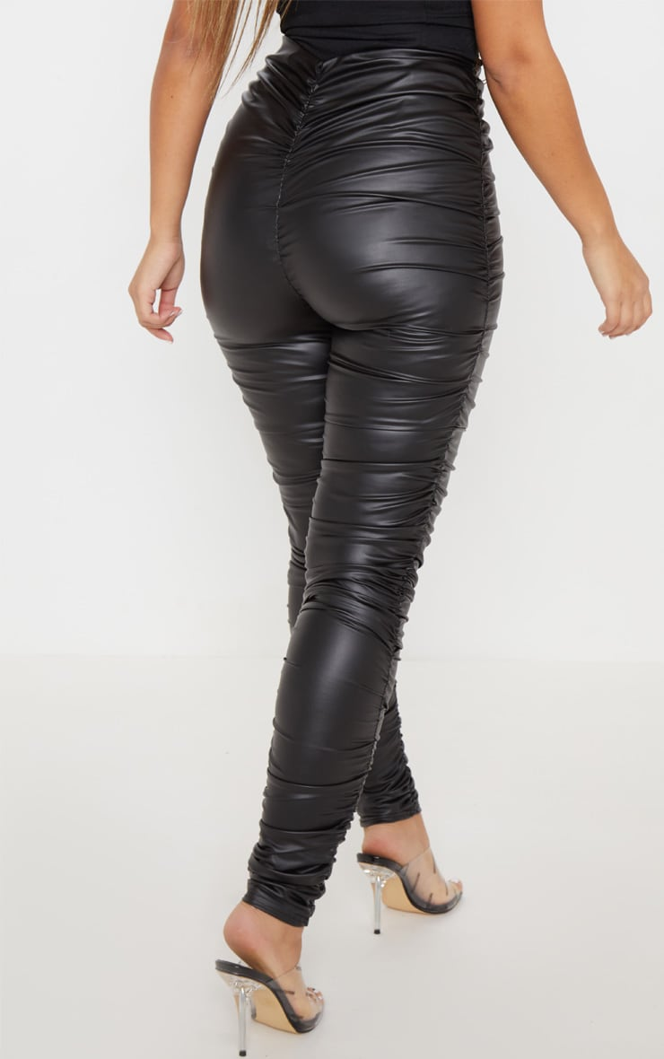 Black Coated Ruched Side Legging 4