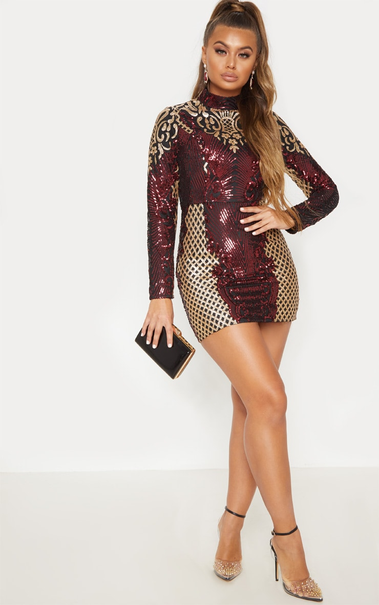 Black High Neck Sequin Bodycon Dress 5