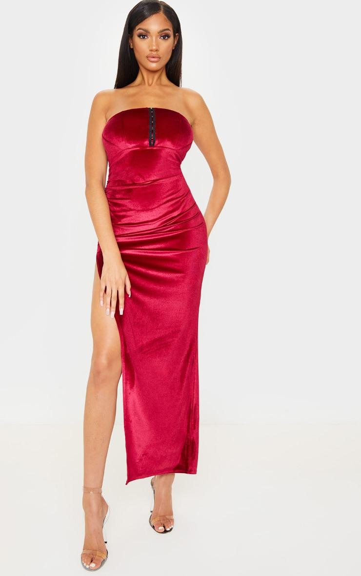 Robe longue en velours bordeaux à détail corset 1