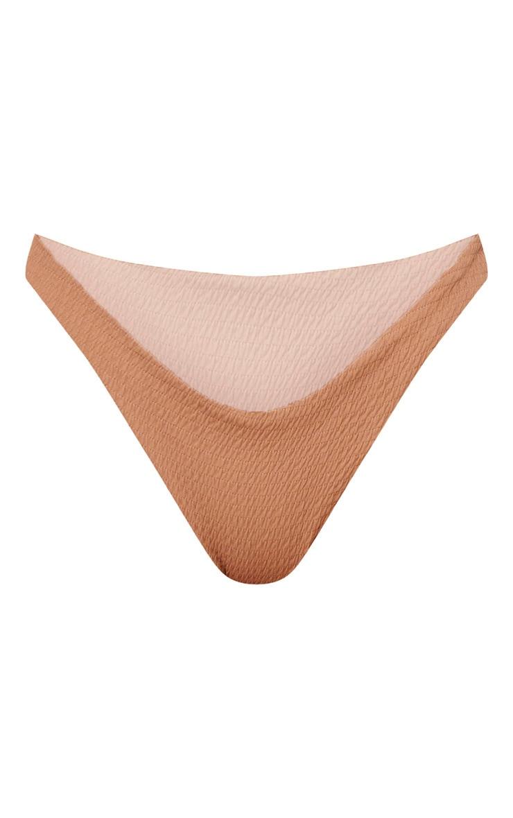 Mocha Crinkle V Front Bikini Bottom 3