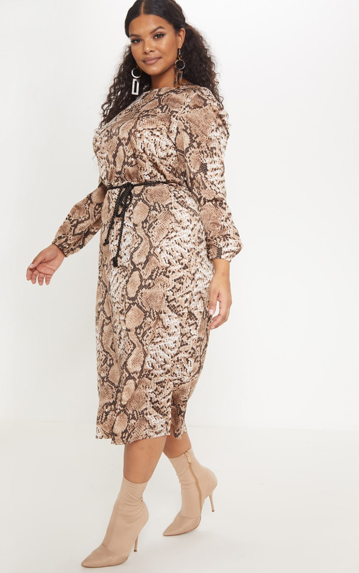 Plus Taupe Tie Waist Snake Print Midi Dress 4