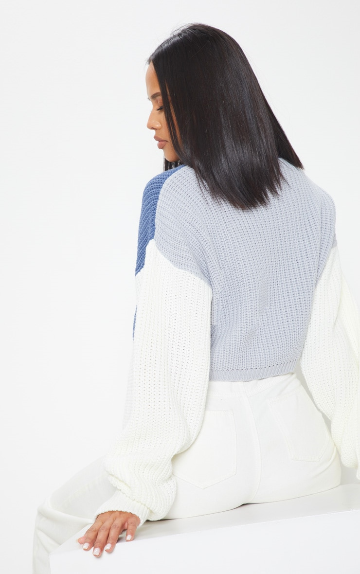 Cream Colour Block Cropped Knitted Jumper 2