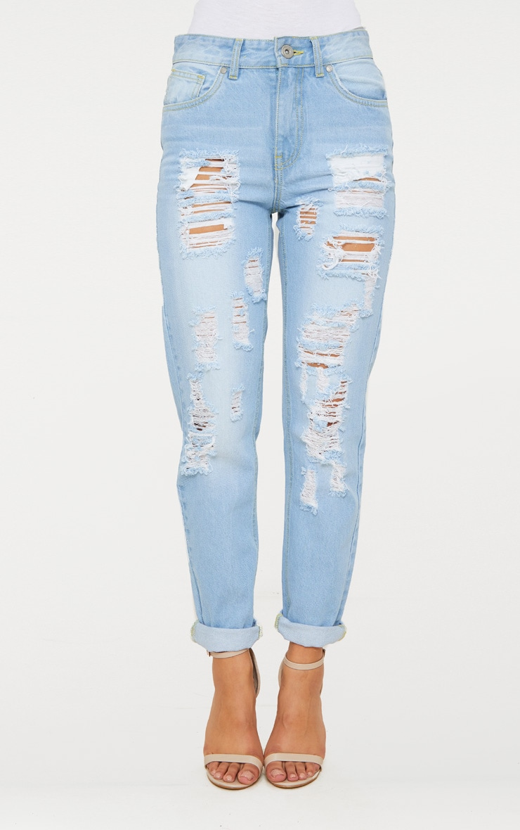 Bleach Wash Distressed Mom Jean 5