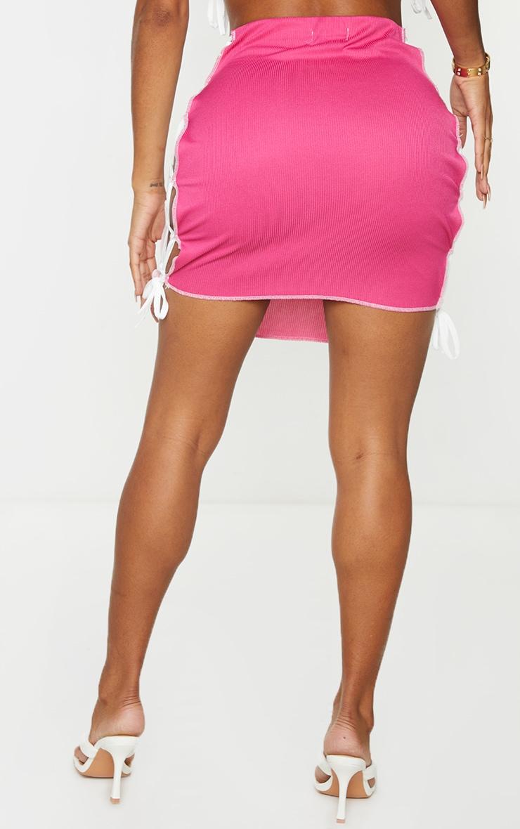 Shape Hot Pink Rib Panel Overlock Lace Up Side Bodycon Skirt 3