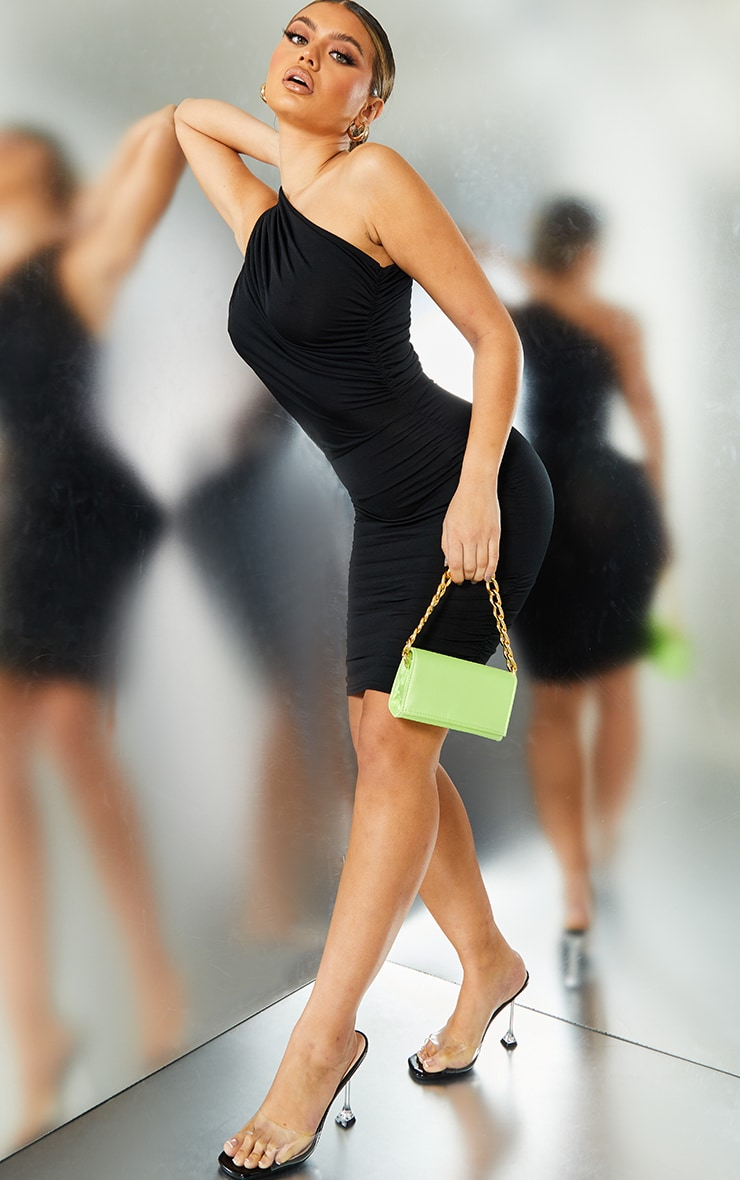Black Slinky Ruched One Shoulder Bodycon Dress 3