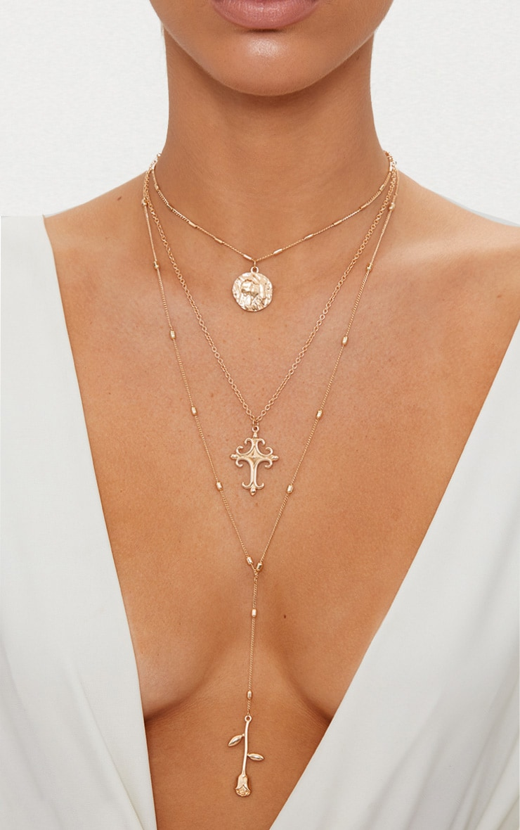 Gold Triple Layer Rose Cross Necklace