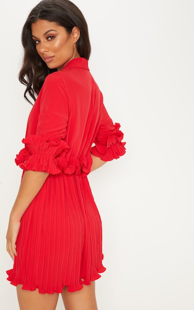 Red Frill Detail Pleated Skater Dress