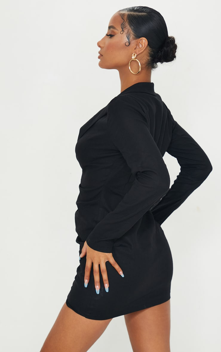 Black Plunge Ruched Front Blazer Dress 2