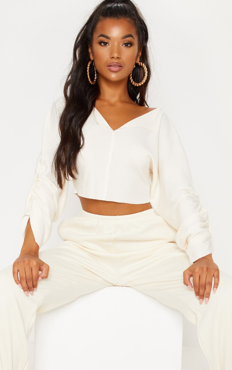 Cream Ribbed Ruched Sleeve Sweater 1