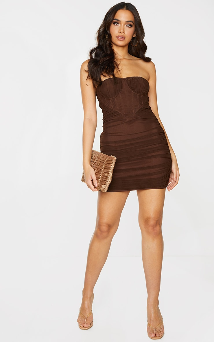 Chocolate Chiffon Corset Detail Ruched Bandeau Bodycon Dress 3
