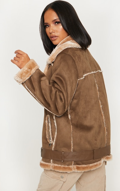 Chocolate Brown Faux Suede Aviator