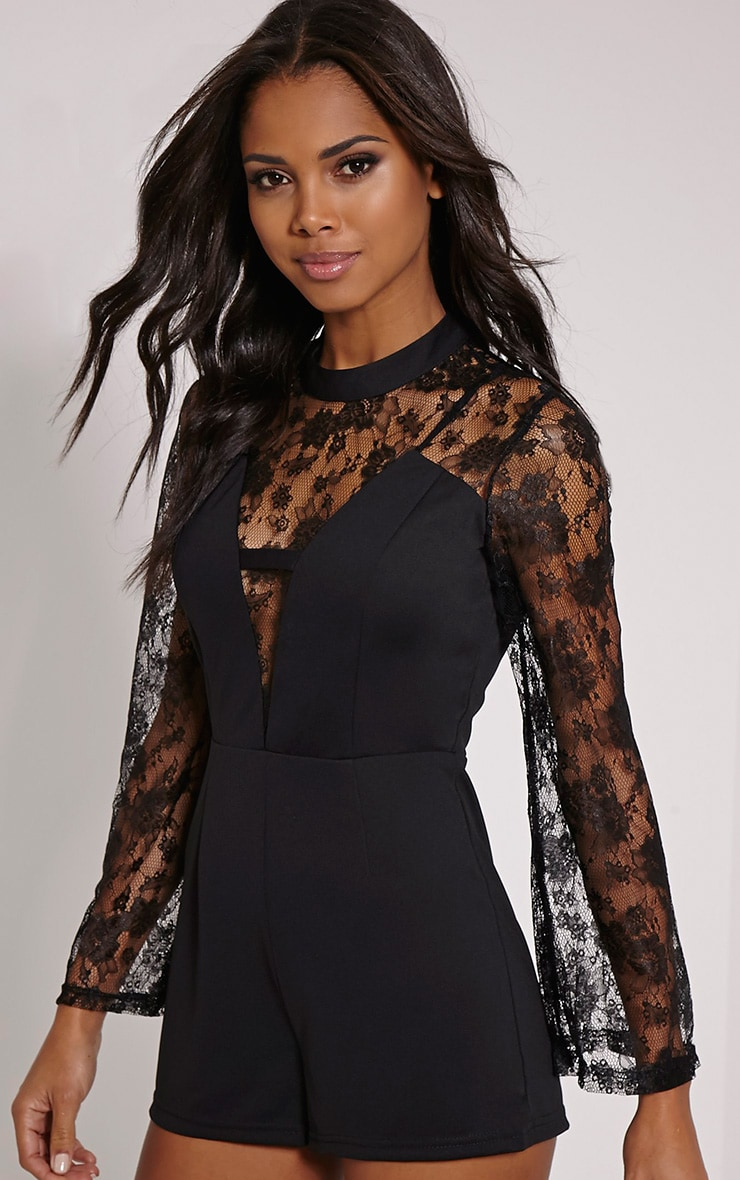 Natalya Black Lace Sleeve Playsuit 1