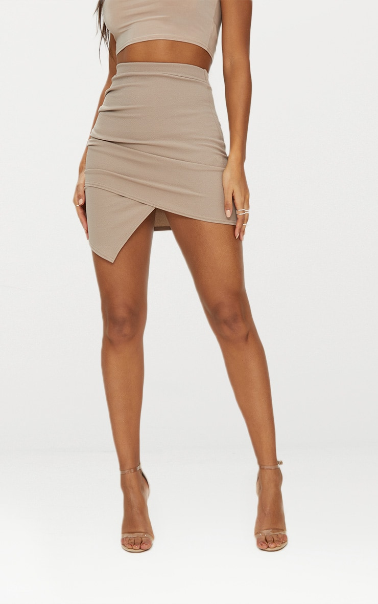 Taupe Ruched Wrap Mini Skirt 3