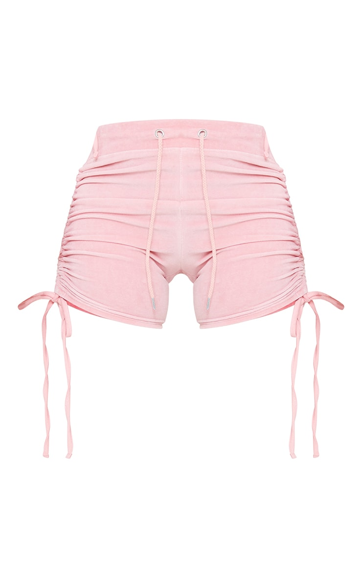 Shape Baby Pink Velour Ruched Side Shorts 6
