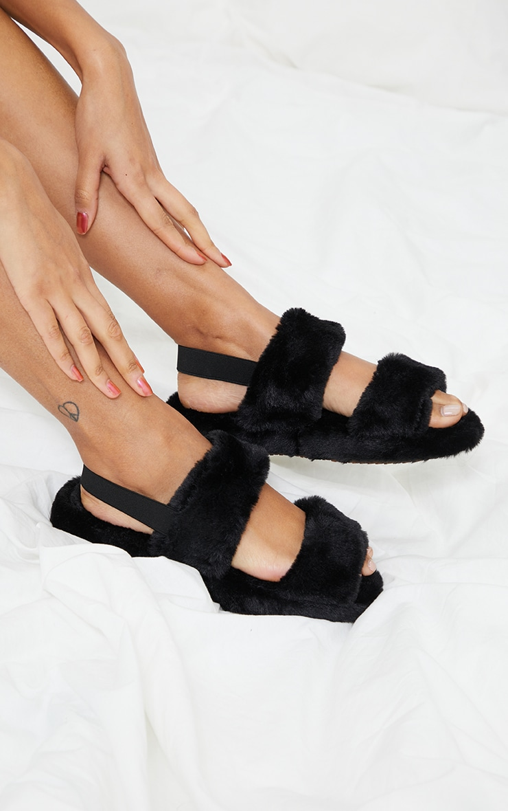 Black Fluffy Two Strap Chunky Slippers 1