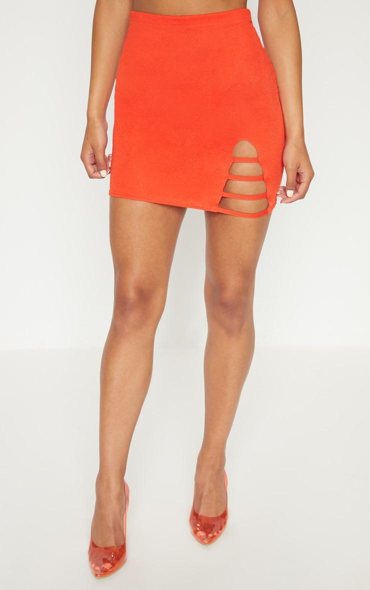 Hot Orange Ladder Detail Mini Skirt  2