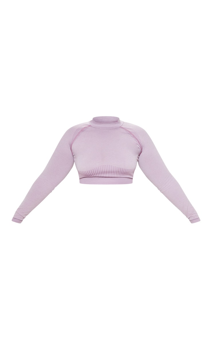Plus Lilac Seamless Underbust Detail Long Sleeve Crop Top 3