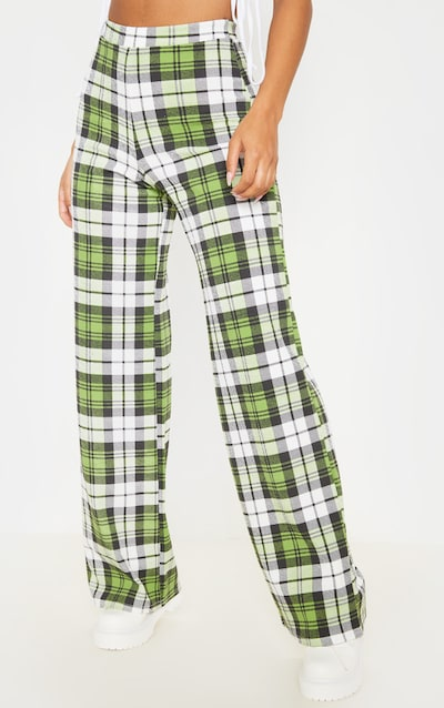 Green Crepe Check Wide Leg Trouser