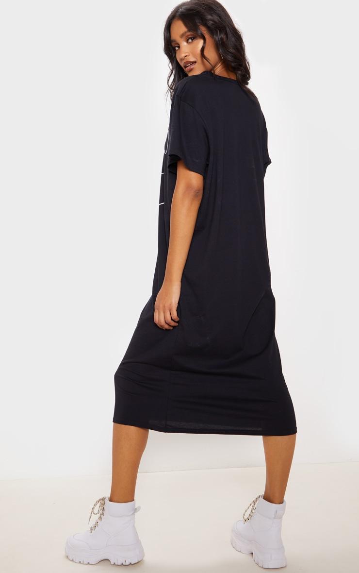 Black Abstract Faces Slogan Midi T-Shirt Dress  2